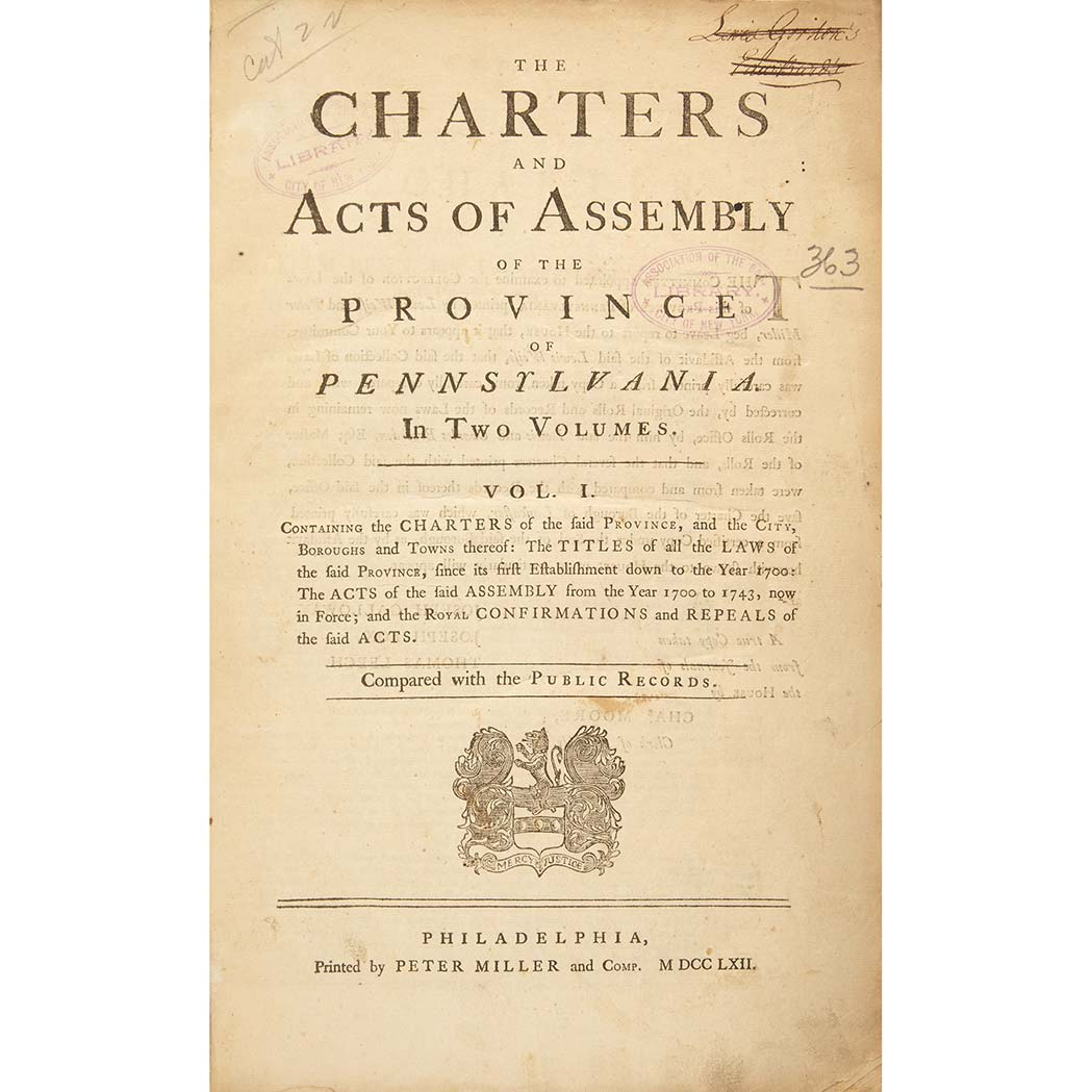 Lot image - [PENNSYLVANIA]  The charters and acts of Assembly of the province of Pennsylvania