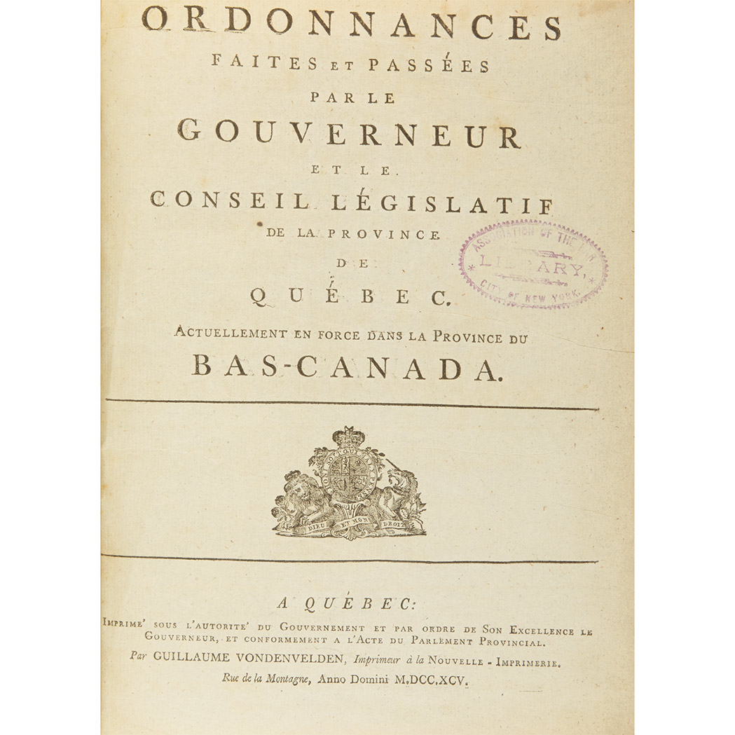 Lot image - [CANADA]  Sammelband of late 18th century Quebec imprints
