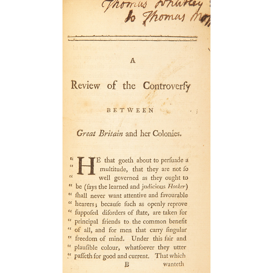 Lot image - [KNOX, WILLIAM]  The Controversy Between Great Britain and her Colonies Reviewed
