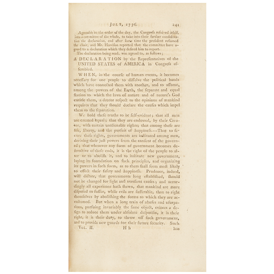 Lot image - [DECLARATION OF INDEPENDENCE]  Journals of Congress. Containing the Proceedings from January 1, 1776, to January 1, 1777