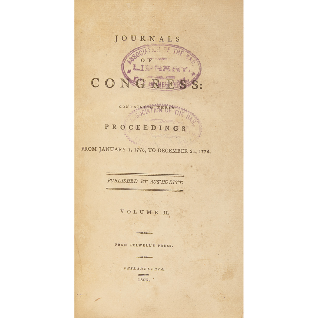 Lot image - [JOURNALS OF CONGRESS]  Journals of Congress: containing their proceedings from September 5, 1774 ... [to November 3, 1788]