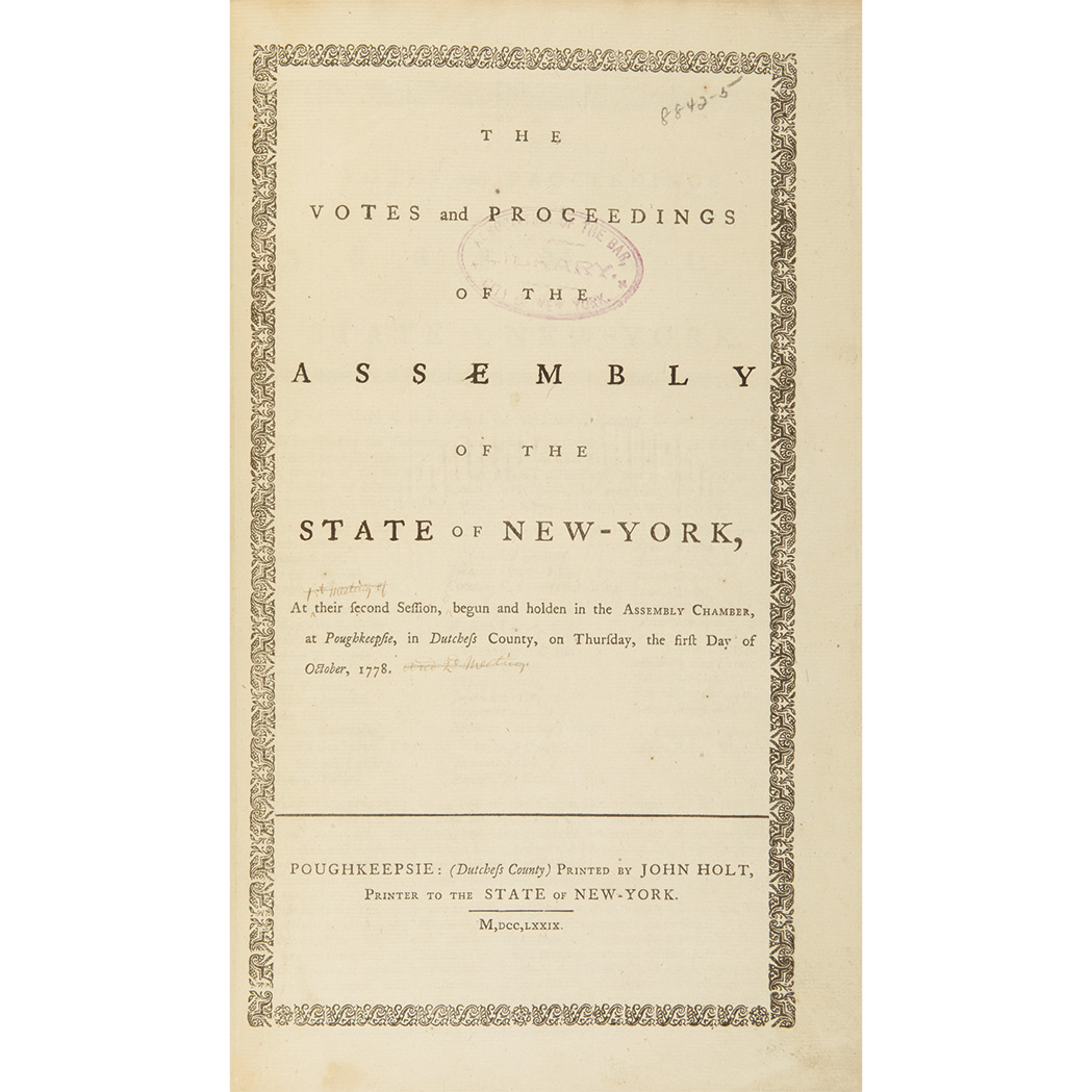 Lot image - [NEW YORK] Group of Journals of the Votes and Proceedings of the New York General Assembly, 1772-1801, thirteen folio volume...