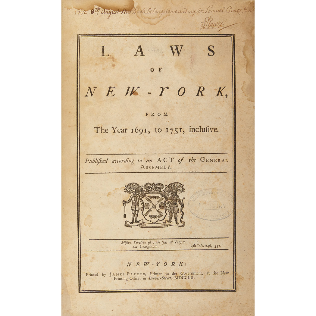 Lot image - [NEW YORK - LIVINGSTON, WILLIAM and SMITH, WILLIAM, Jr. - compilers] Laws of New-York, from the Year 1691, to 1751, inclusiveD...