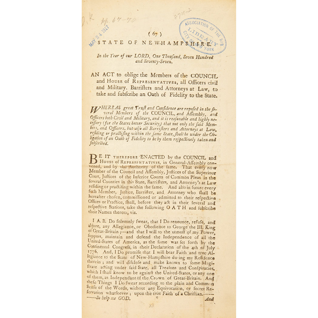 Lot image - [NEW HAMPSHIRE] Group of session acts, 1765-1788, nine volumes in 20th century cloth, commencing with (caption title) Acts and Laws ...
