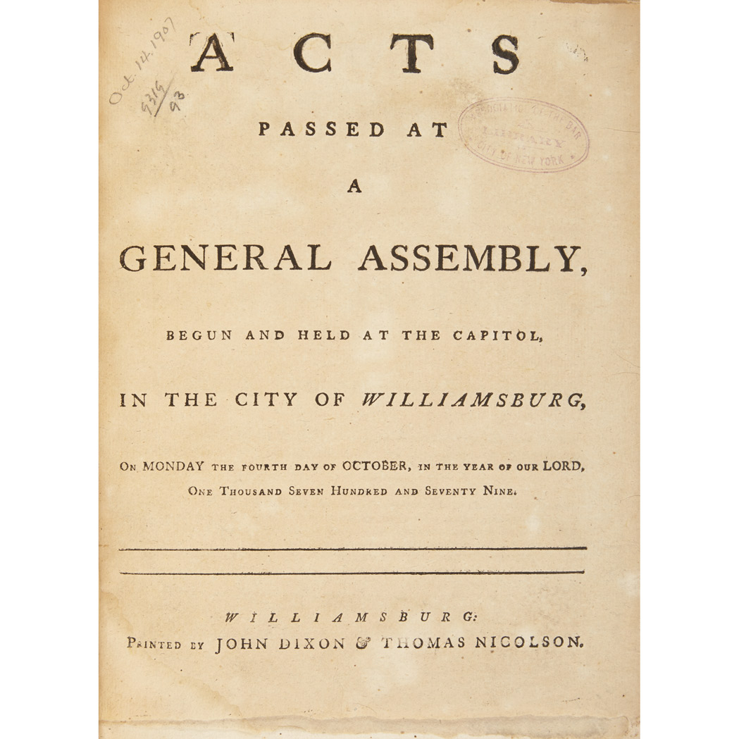 Lot image - [VIRGINIA - REVOLUTION] Acts passed at a General Assembly, begun and held at the capitol, in the city of Williamsburg, on Monda...