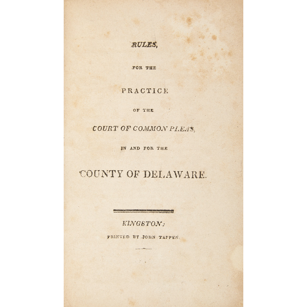 Lot image - [NEW YORK - SUPREME COURT] Rules of the Supreme Court of the State of New-York. Albany: Webster, 1799. First edition. Early...