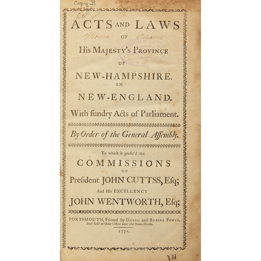 Lot image - [NEW HAMPSHIRE] Acts and Laws, of His Majesties Province of New Hampshire in New-England. With Sundry Acts of Parliament. Po...