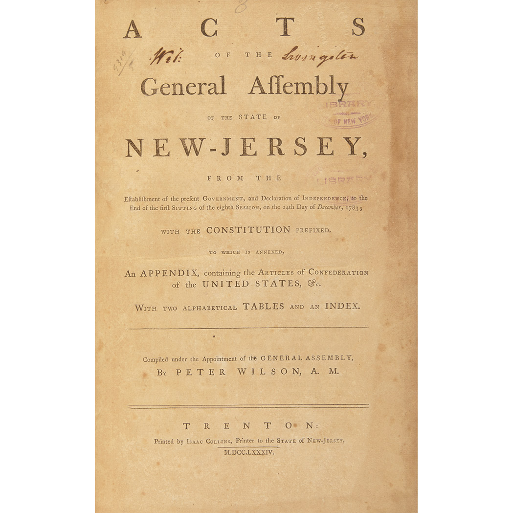 Lot image - [NEW JERSEY] WILSON, PETER (compiler). Acts of the General Assembly of the State of New-Jersey. Trenton: Isaac Collins, 1784...