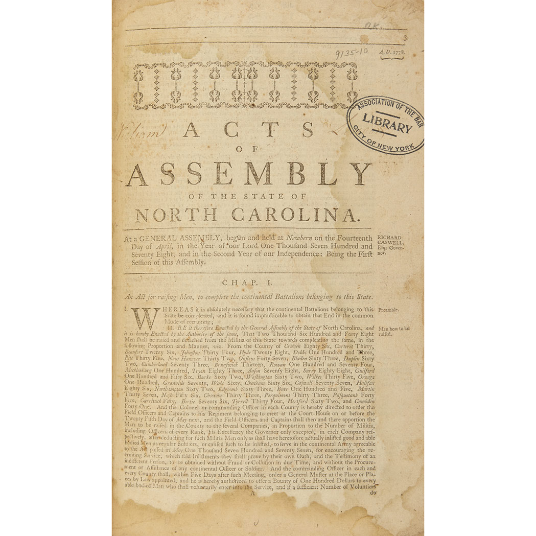 Lot image - [NORTH CAROLINA - REVOLUTION] Acts of Assembly of the state of North Carolina ... held at Newbern on the fourteenth day of Apri...