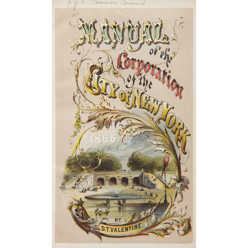 Lot image - [NEW YORK - VALENTINES MANUAL] Manual of the Corporation New York. New York: 1842-1870, a nearly complete run, including on...