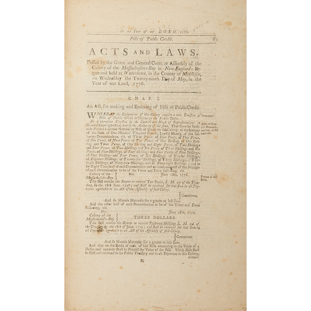 Lot image - [MASSACHUSETTS - REVOLUTION]  Acts and Laws, Passed by the Great and General Court or Assembly of the Colony of the Massachusetts-Bay in New-England: Begun and held at Watertown... the twenty-ninth day of May, in the year of our Lord, 1776