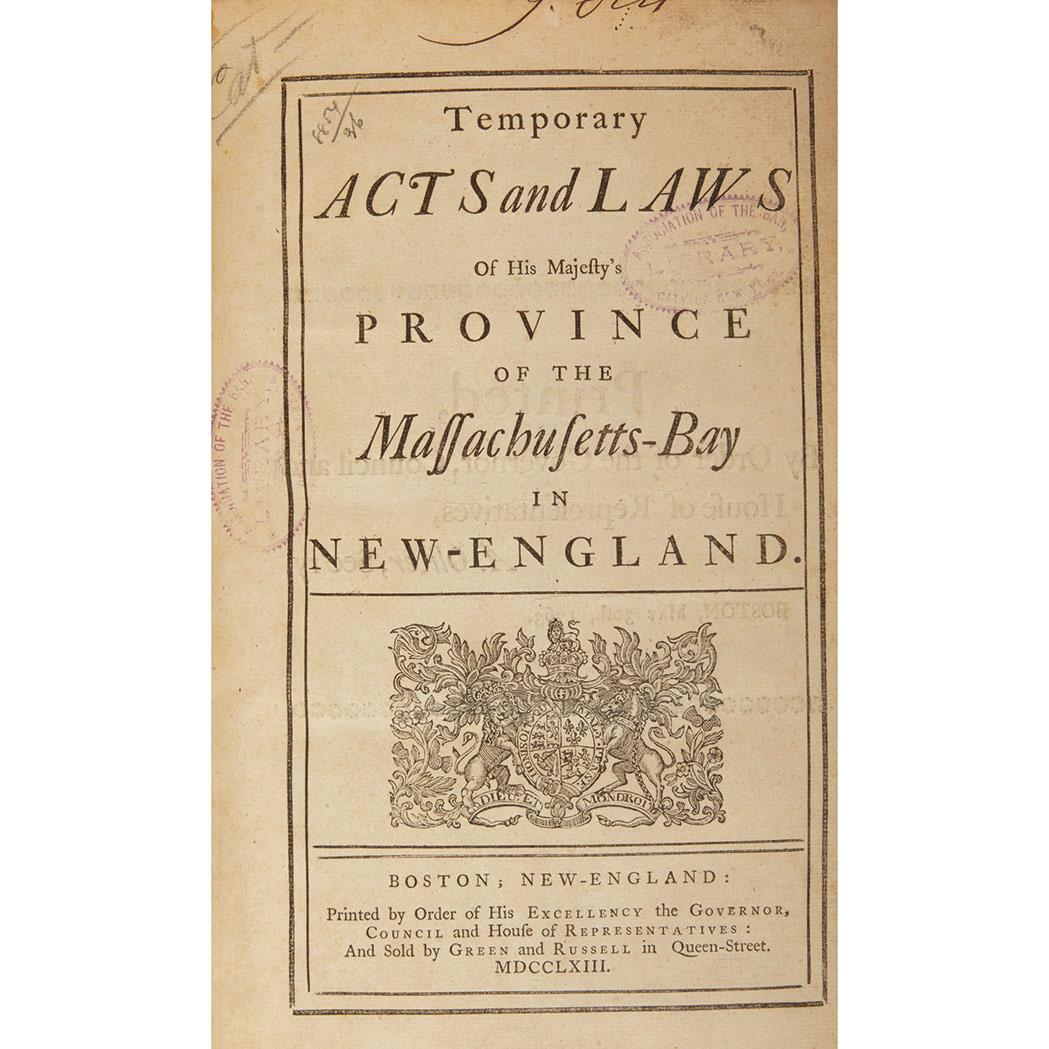 Lot image - [MASSACHUSETTS - COLONIAL]  Temporary Acts and Laws of his Majesty's Province of the Massachusetts-Bay in New-England
