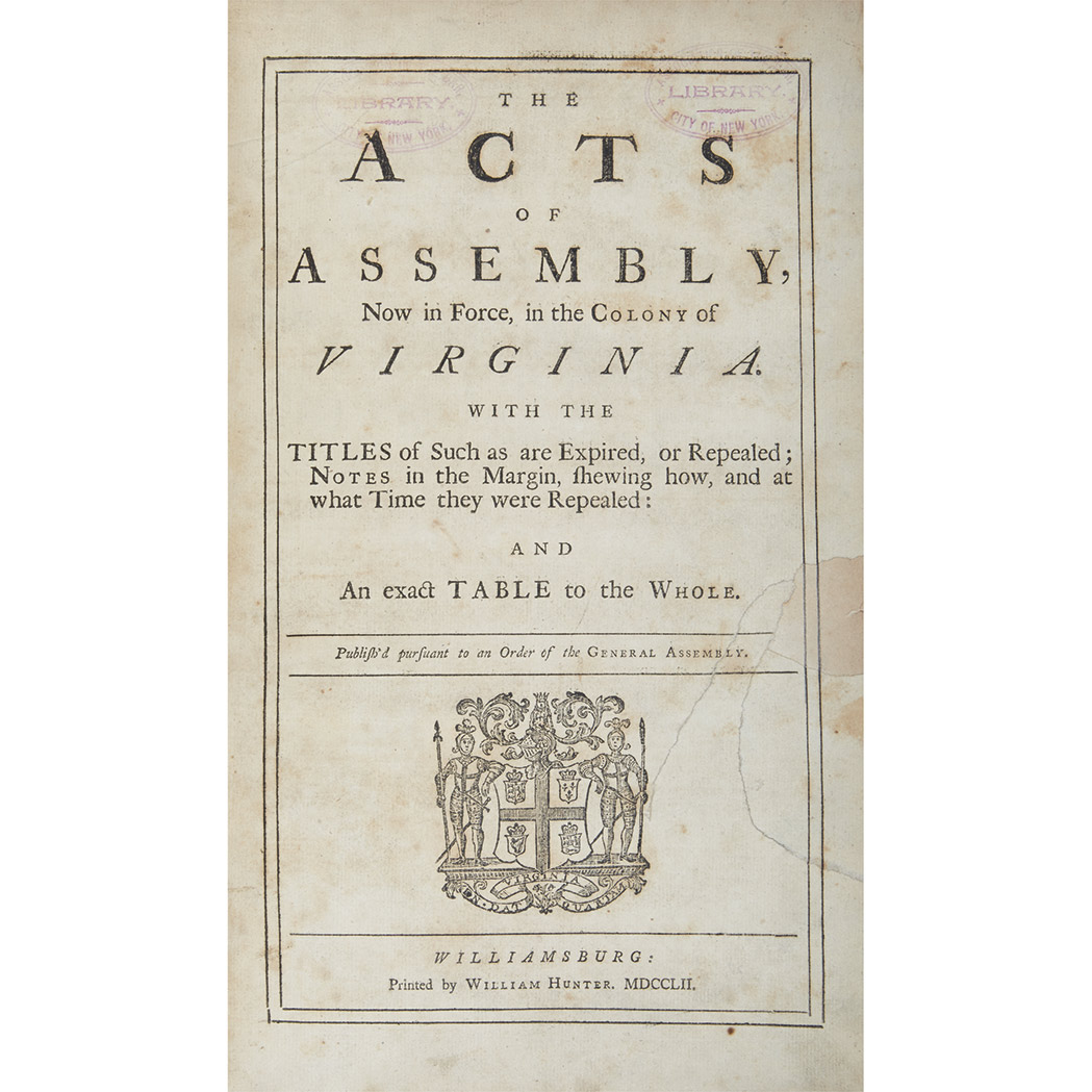 Lot image - [VIRGINIA - COLONIAL]  Bound volume of acts, 1748-63, with much annotation
