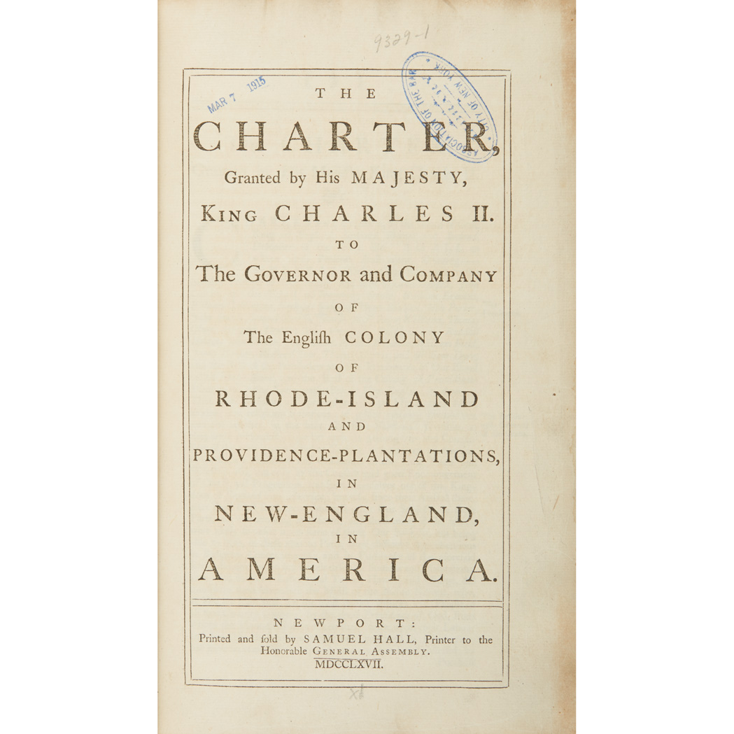 Lot image - [RHODE ISLAND]  The Charter, Granted by His Majesty, King Charles II