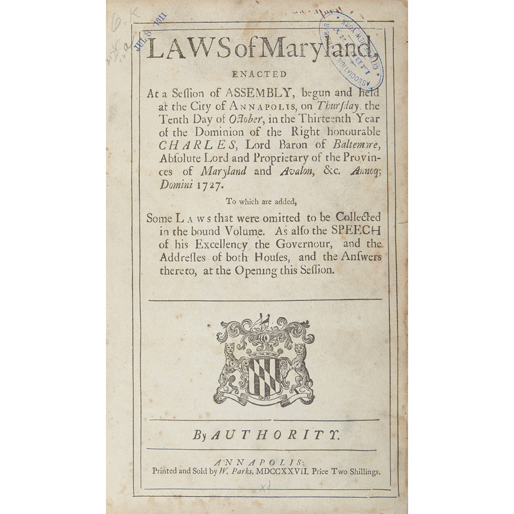Lot image - [MARYLAND - COLONIAL]  Large group of session laws, 1727-57