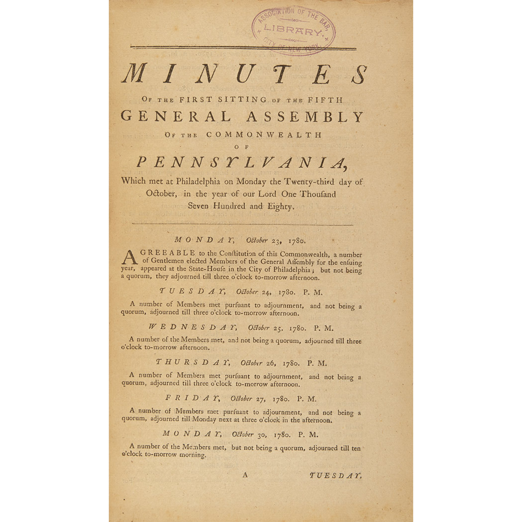Lot image - [PENNSYLVANIA - REVOLUTION]  Minutes of the first session of the fourth General Assembly of the Commonwealth of Pennsylvania