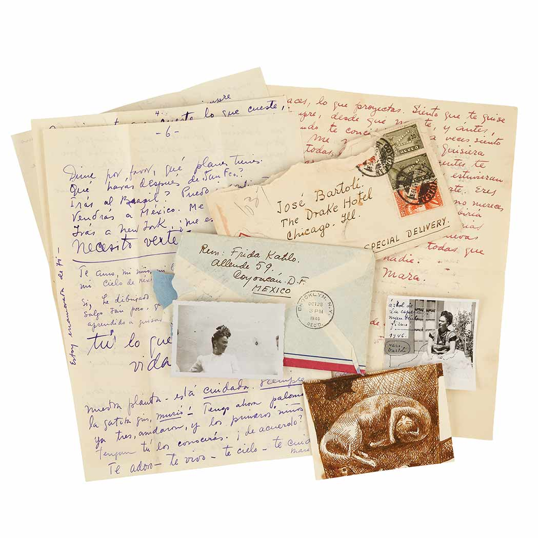 Lot image - KAHLO, FRIDA  An important unpublished archive of approximately twenty-five autograph letters to Jose Bartoli, with photographs and various enclosures