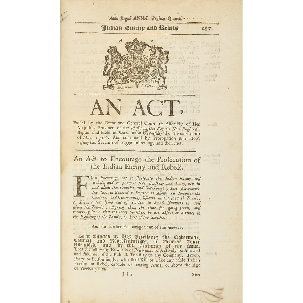 Lot image - [MASSACHUSETTS - COLONIAL]  Two groups of early Acts & Laws, 1700-10