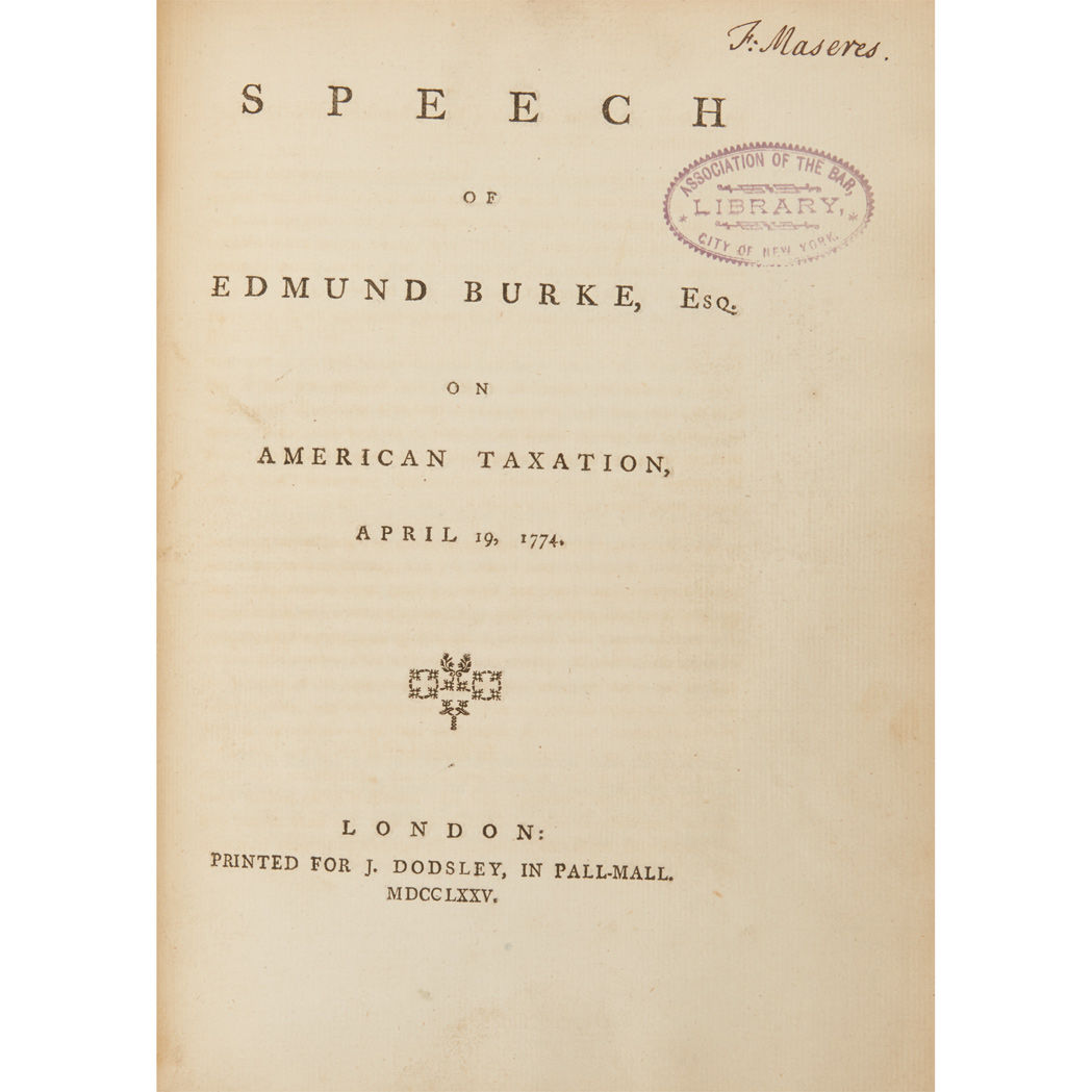 Lot image - [AMERICAN REVOLUTION - ENGLAND]  BURKE, EDMUND. The Speech of Edmund Burke, Esq; On Moving His Resolutions for Conciliation with the Colonies, March 22, 1775