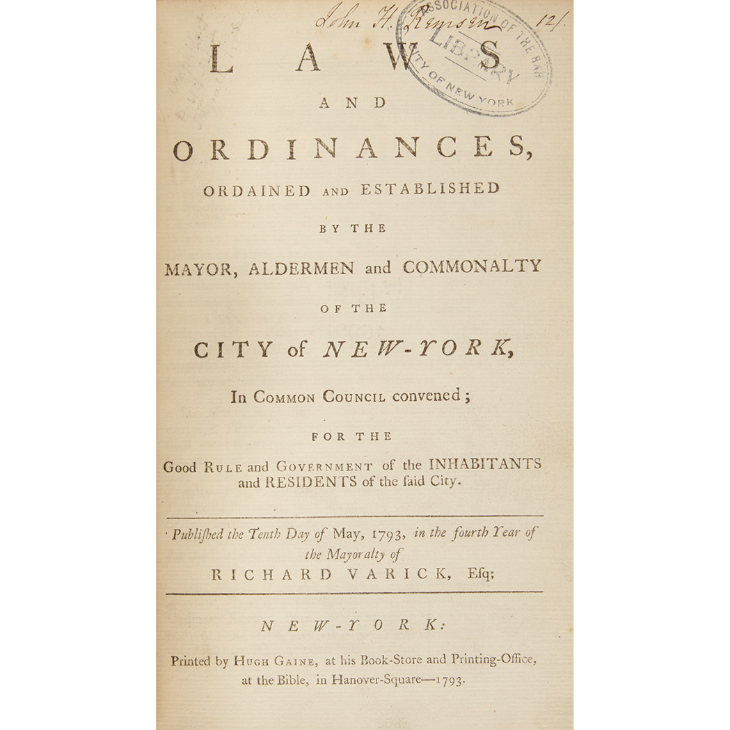 Lot image - [NEW YORK CITY] Laws and ordinances, ordained and established by the mayor, aldermen and commonalty of the city of New-York, in...