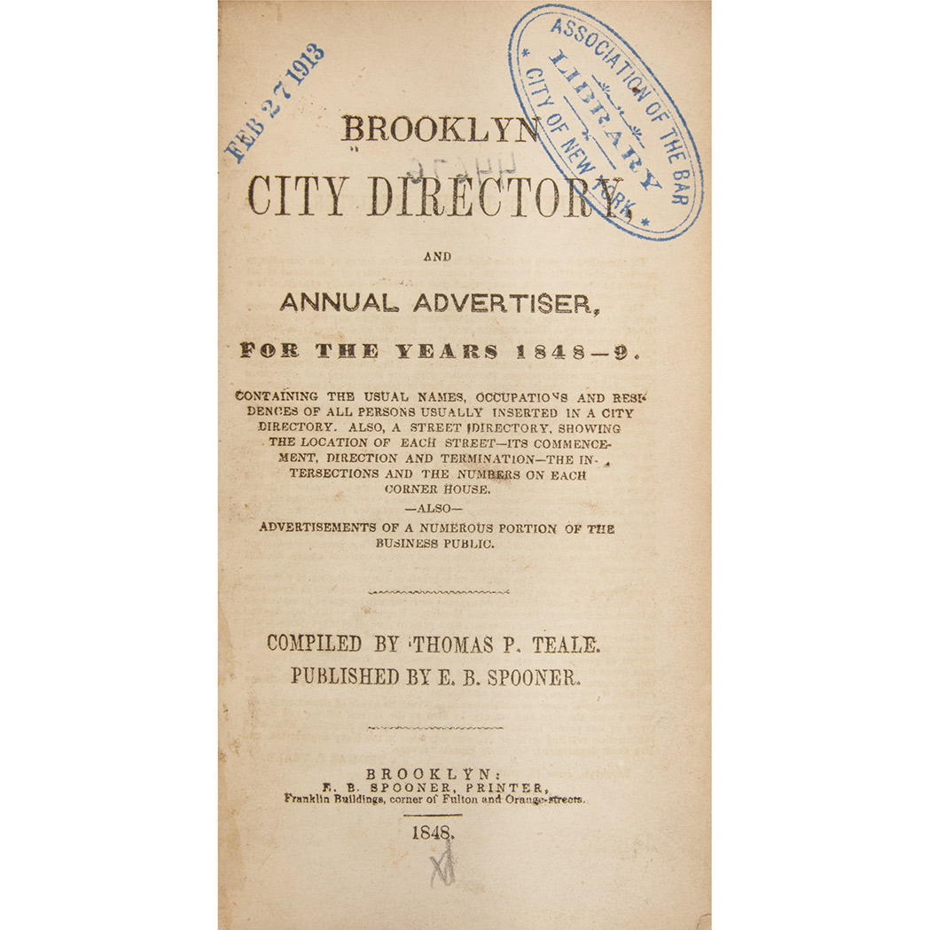 Lot image - [BROOKLYN]  Brooklyn City Directory, and Annual Advertiser, for the years 1848-9