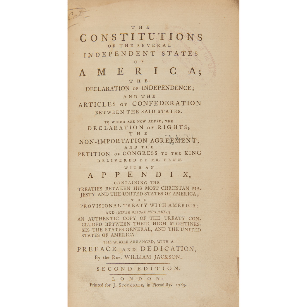 Lot image - [CONSTITUTIONS]  The Constitutions of the Several Independent States of America; The Declaration of Independence; and the Articles of Confederation Between the Said States