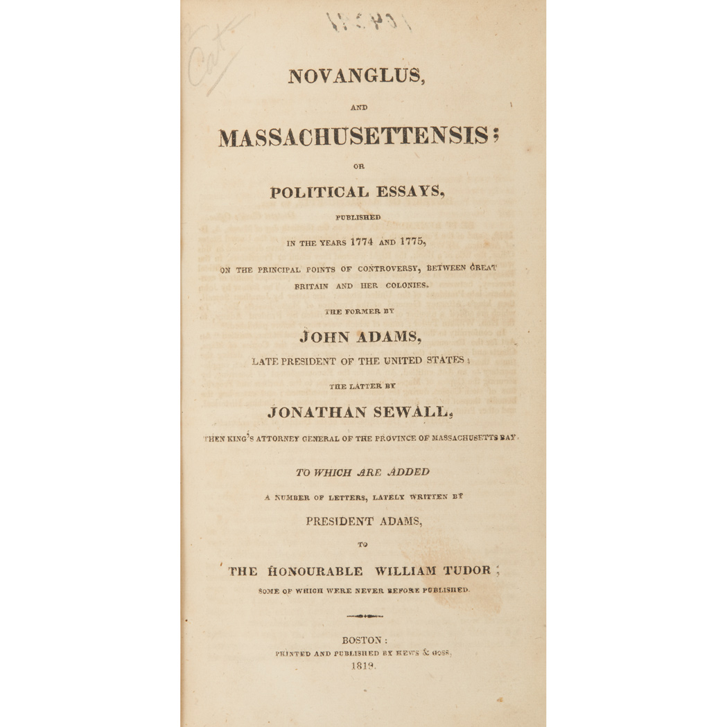 Lot image - ADAMS, JOHN  A Defence of the Constitutions of Government of the United States of America