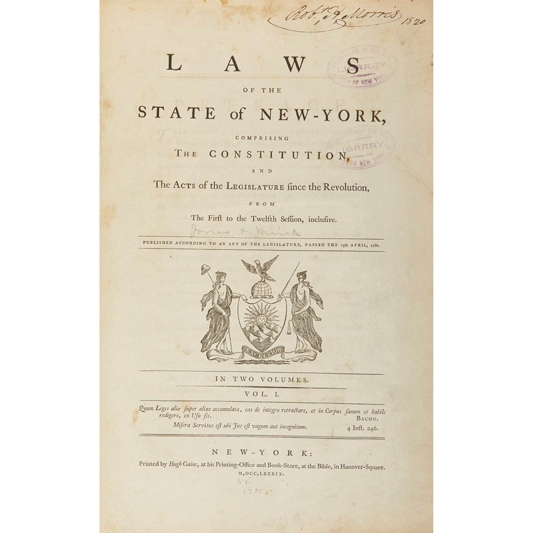 Lot image - [NEW YORK - JONES, SAMUEL and VARICK, RICHARD] Laws of the State of New-York, comprising the Constitution, and the acts of the legis...