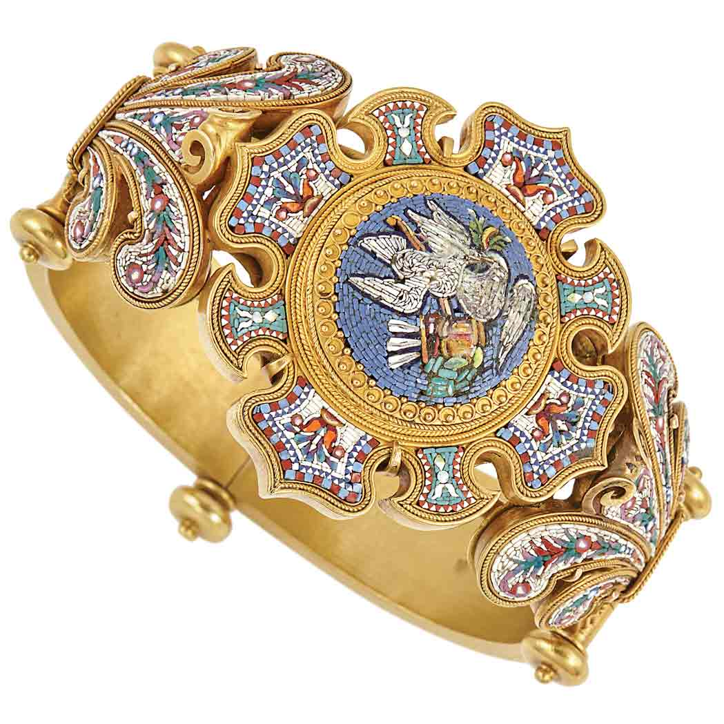 Antique Gold and Micromosaic Bangle Bracelet for Sale at ...