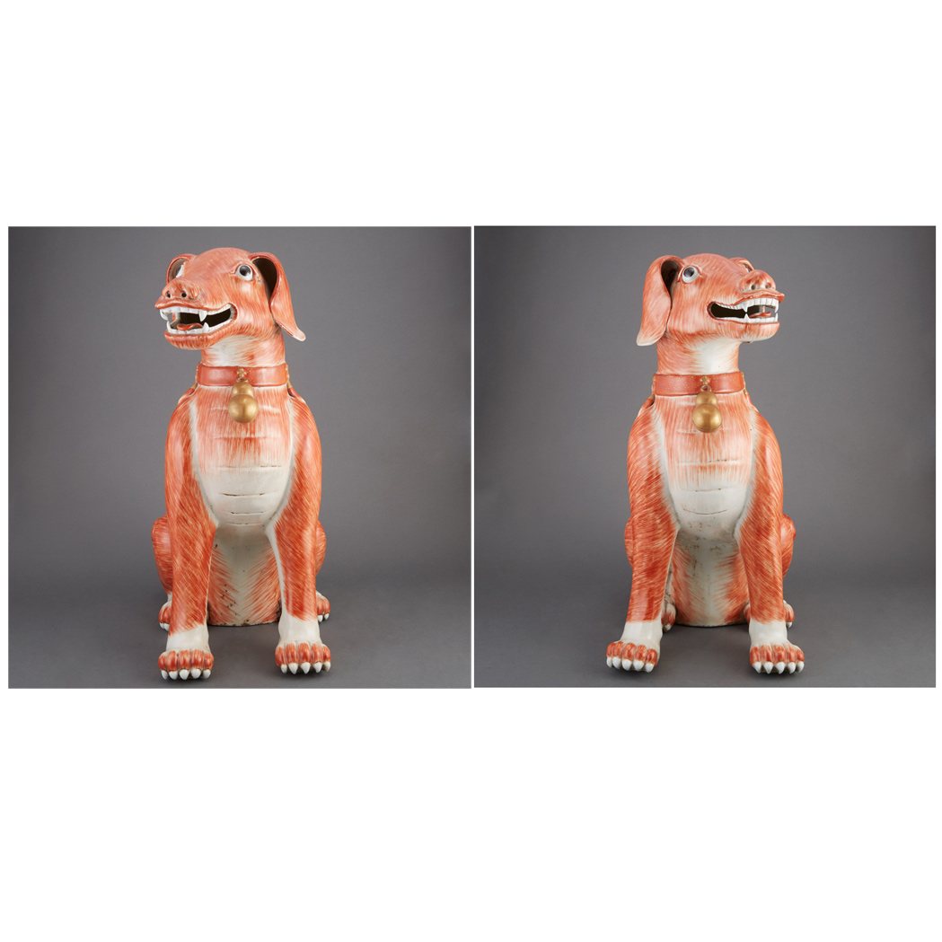 Lot image - Pair of Chinese Export Iron Red Glazed Porcelain Figures of Dogs