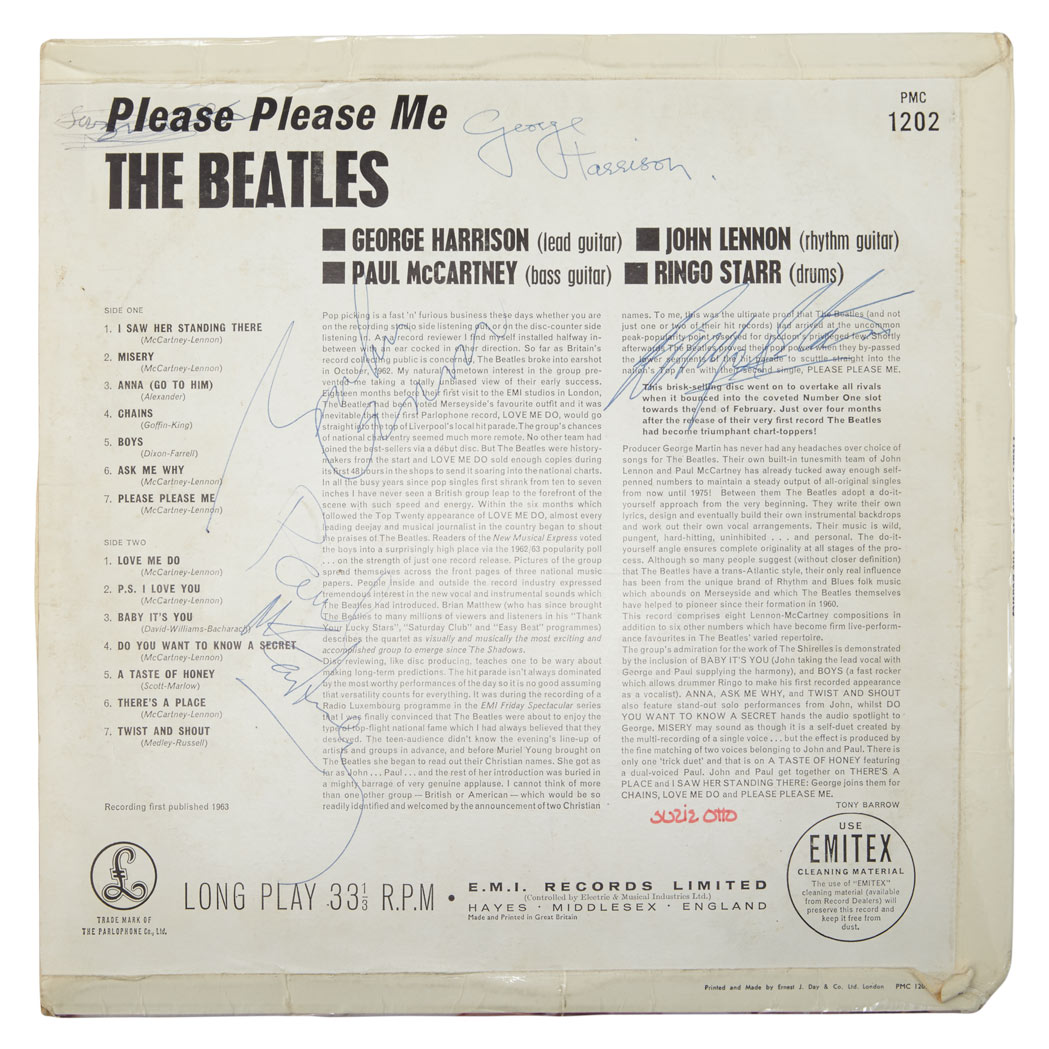 Lot image - THE BEATLES  Please Please Me record sleeve signed by all four band members