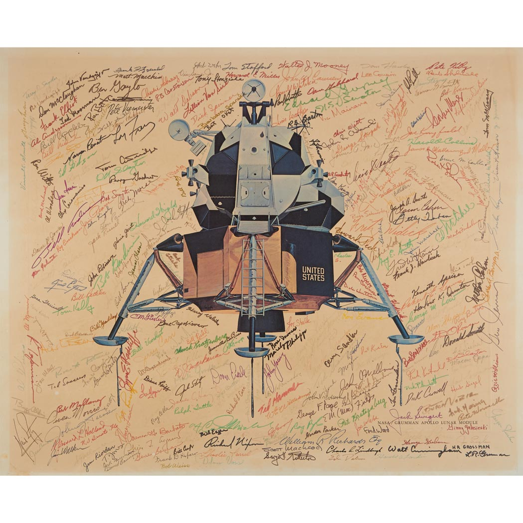 Lot image - [SPACE]  Large lithograph of the Grumman-designed Apollo Lunar Module signed by dozens of Astronauts, NASA and Grumman Officials and Several Notables