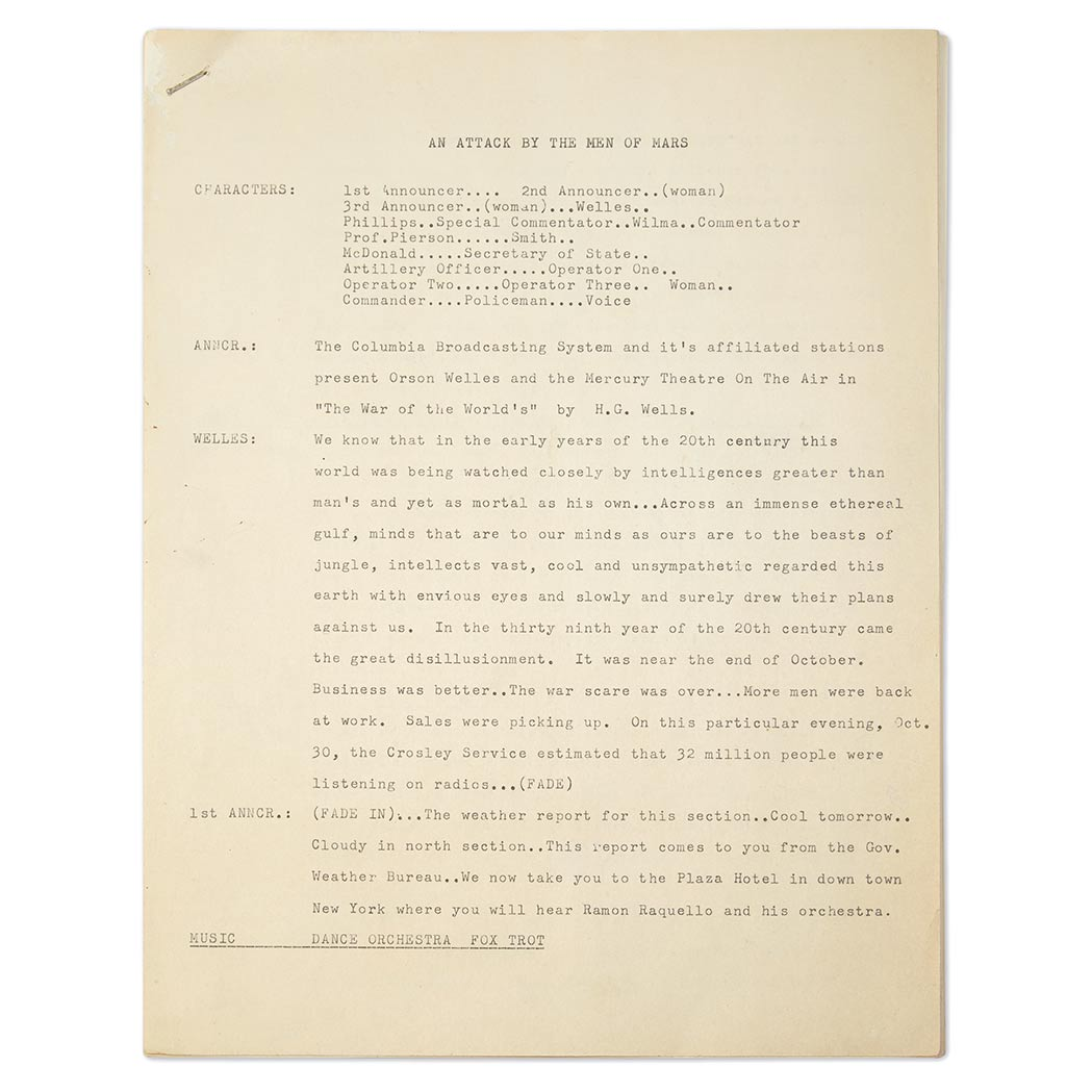 Lot image - WELLES, ORSON & KOCH, HOWARD  Original typescript draft of Welles' Mercury Theatre radio drama The War of the Worlds, here titled An Attack by the Men of Mars