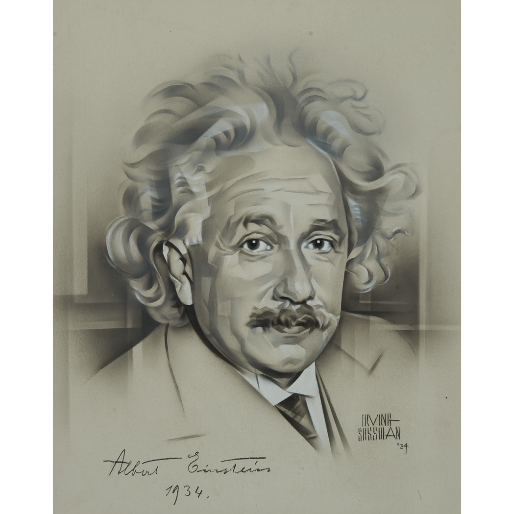Lot image - EINSTEIN, ALBERT  Portrait of Einstein in grisaille rendered in airbrush on illustration board by Irving Sussman, signed and dated 1934