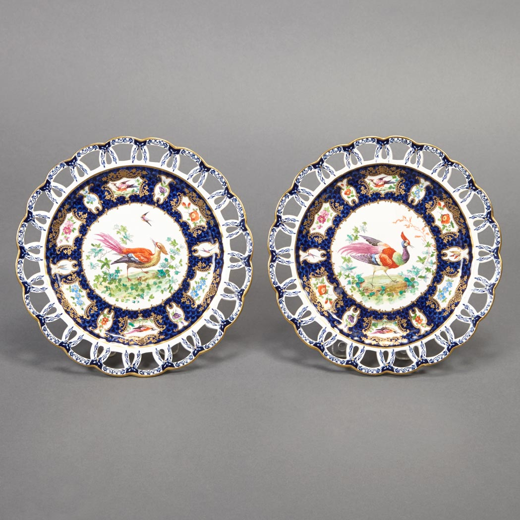 Lot image - Pair of Booths Bird Decorated Porcelain Dessert Plates