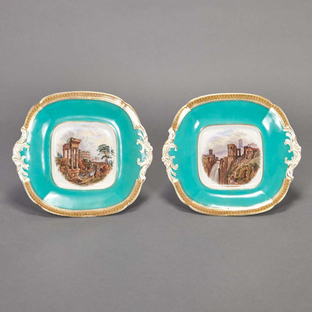 Lot image - Pair of Porcelain Cake Plates Decorated with Architectural Scenes