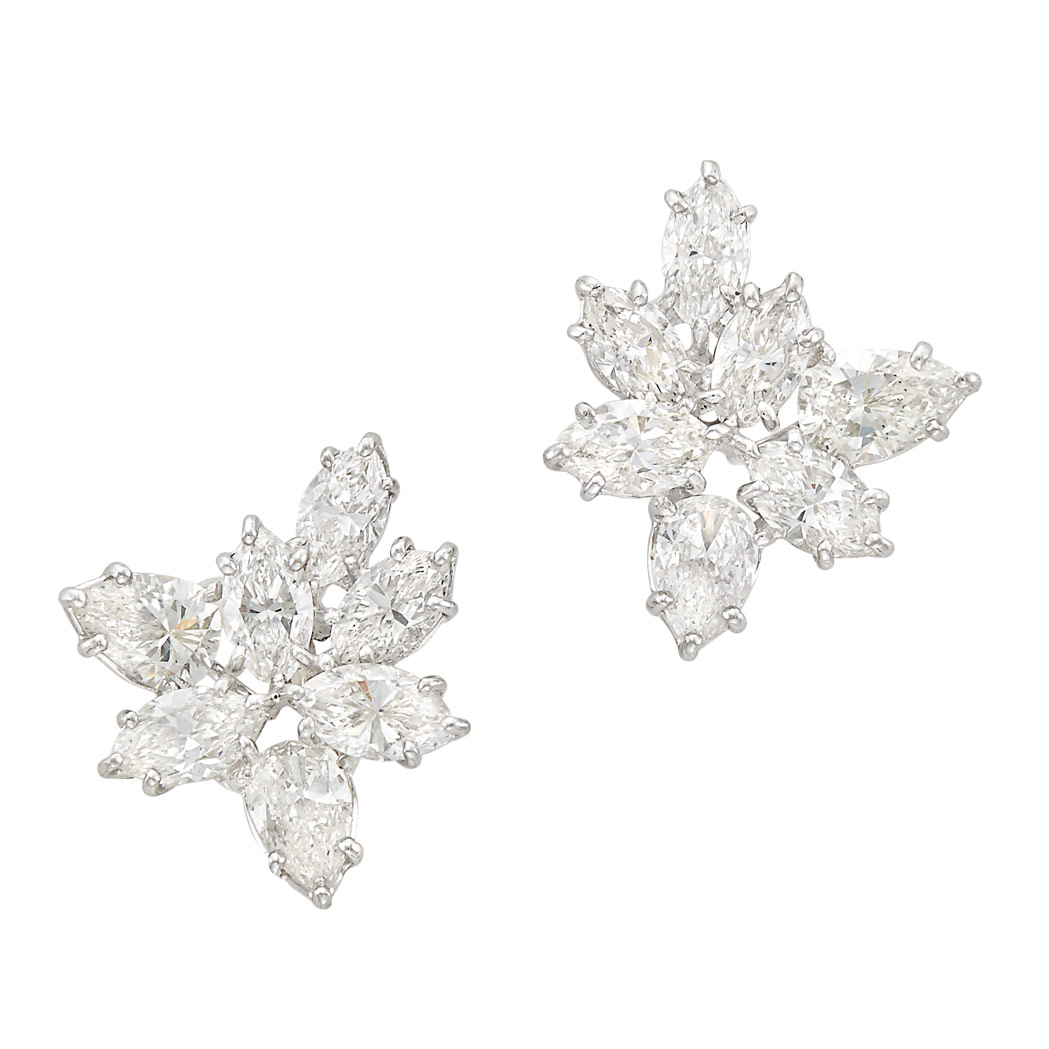 Lot image - Pair of Platinum and Diamond Cluster Earclips