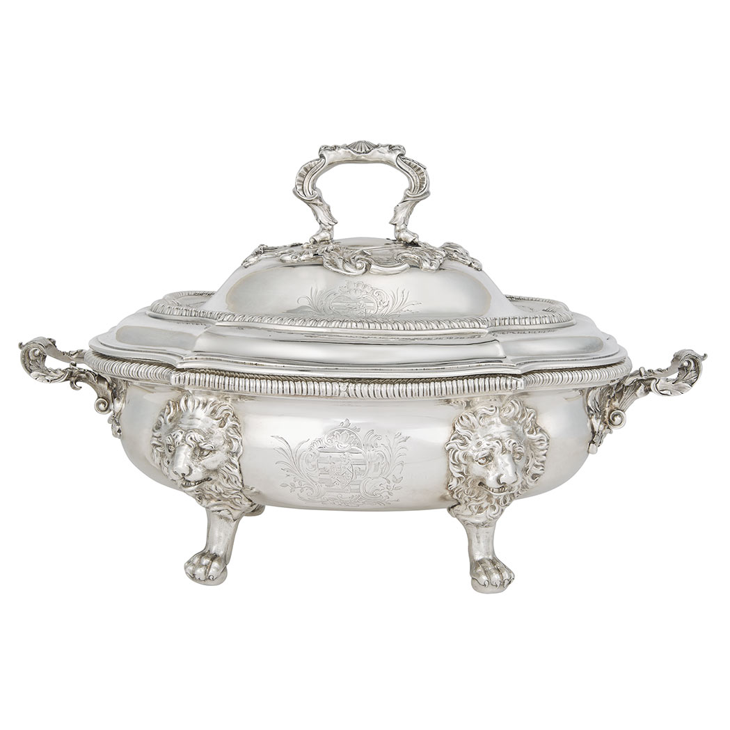 Lot image - George II Sterling Silver Covered Soup Tureen