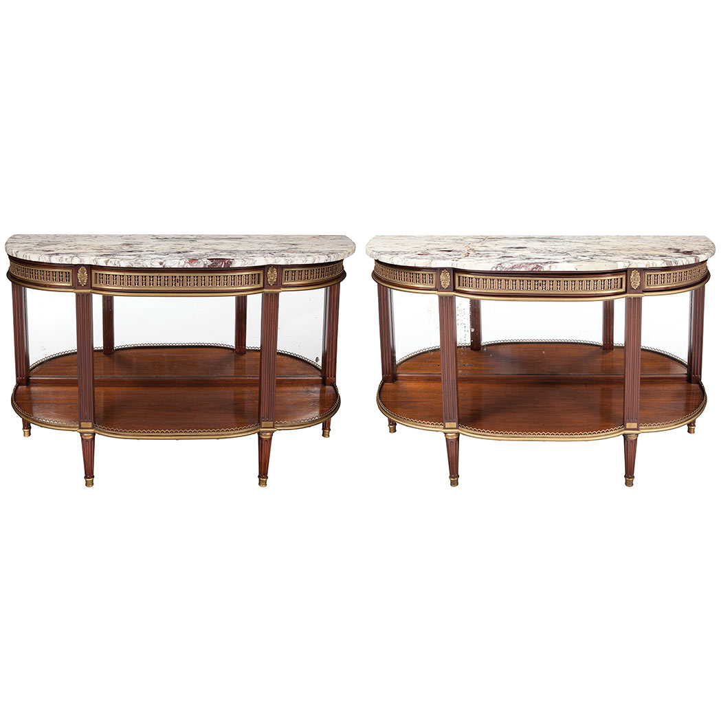 Lot image - Pair of Louis XVI Style Gilt-Metal Mounted Mahogany Console Dessertes
