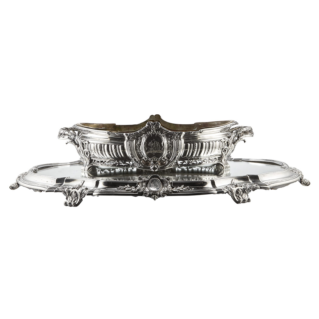 Lot image - French Silver Centerpiece and Mirrored Plateau