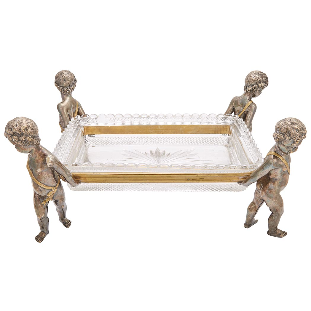 Lot image - Baccarat Gilt and Silvered Bronze, Molded and Cut Glass Centerpiece