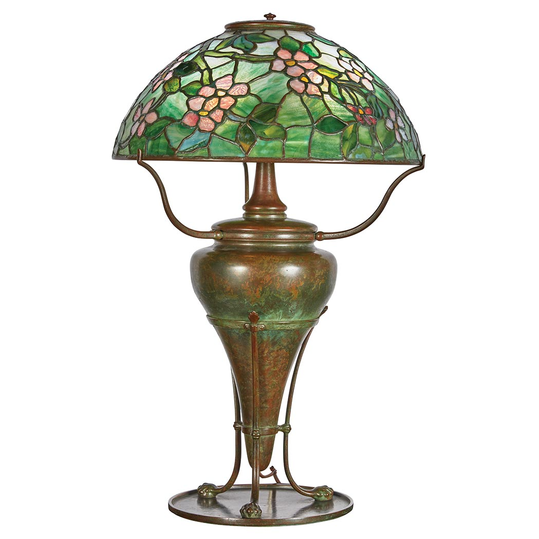 Lot image - Tiffany Studios Bronze and Leaded Favrile Glass Apple Blossom Lamp