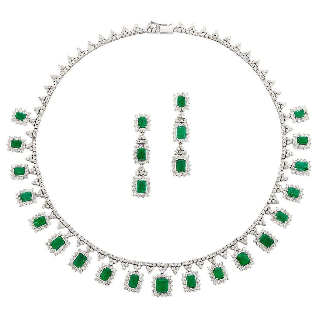 Lot image - White Gold, Emerald and Diamond Fringe Necklace and Pair of Pendant-Earrings