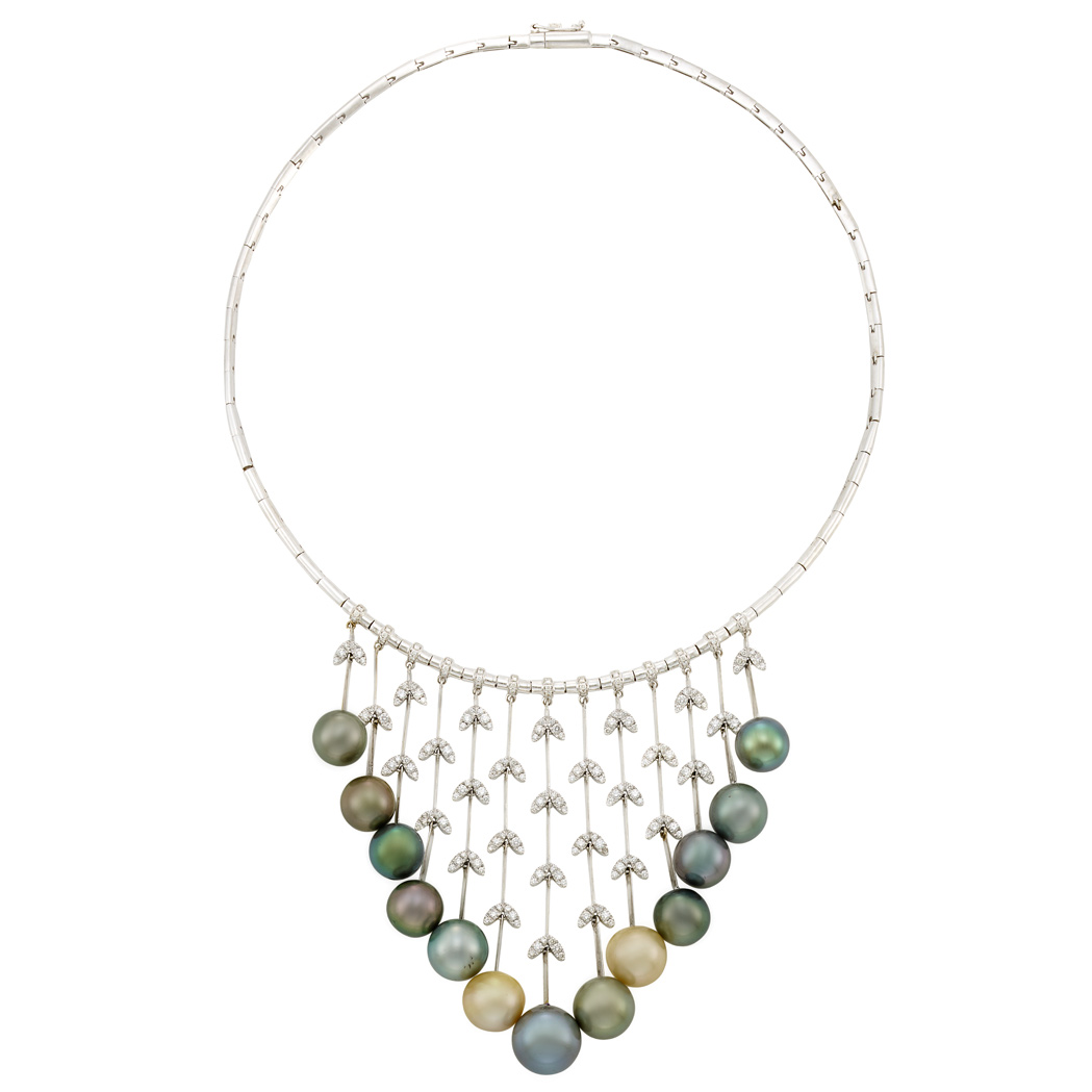 Lot image - White Gold, Tahitian Gray and Light Golden Cultured Pearl and Diamond Necklace