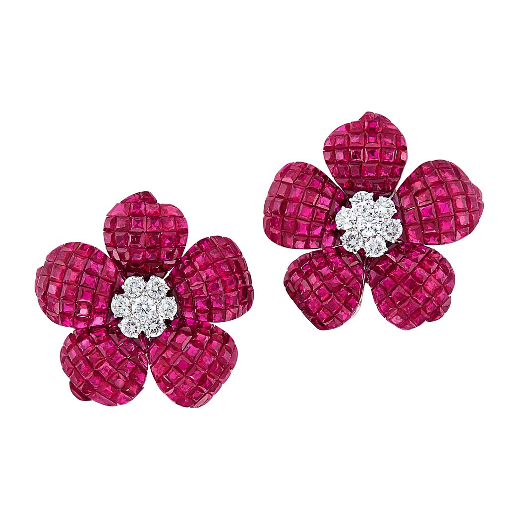 Lot image - Pair of White Gold, Invisibly-Set Ruby and Diamond Flower Earrings