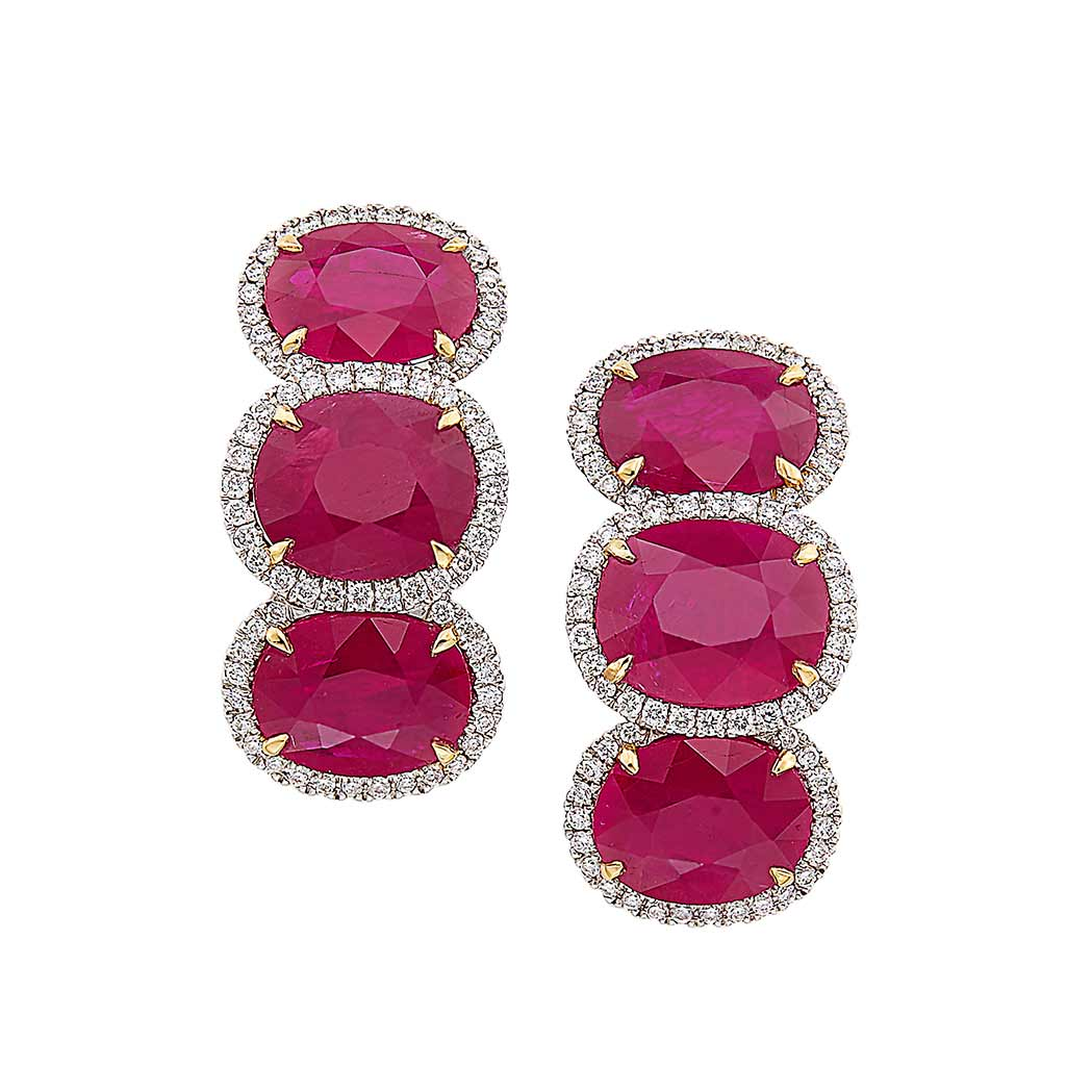 Lot image - Pair of White Gold, Ruby and Diamond Earclips, Piranesi