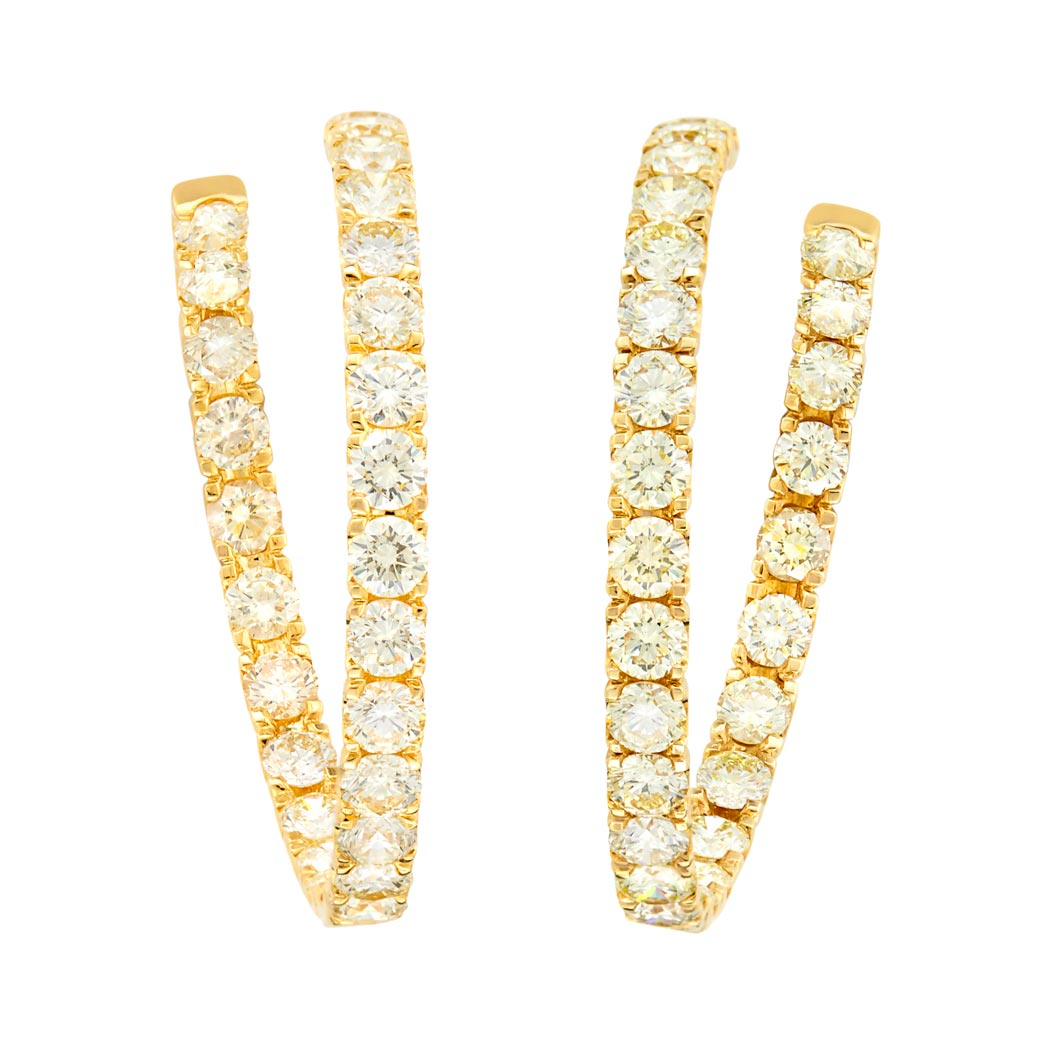 Lot image - Pair of Gold and Light Yellow Diamond Hoop Earrings