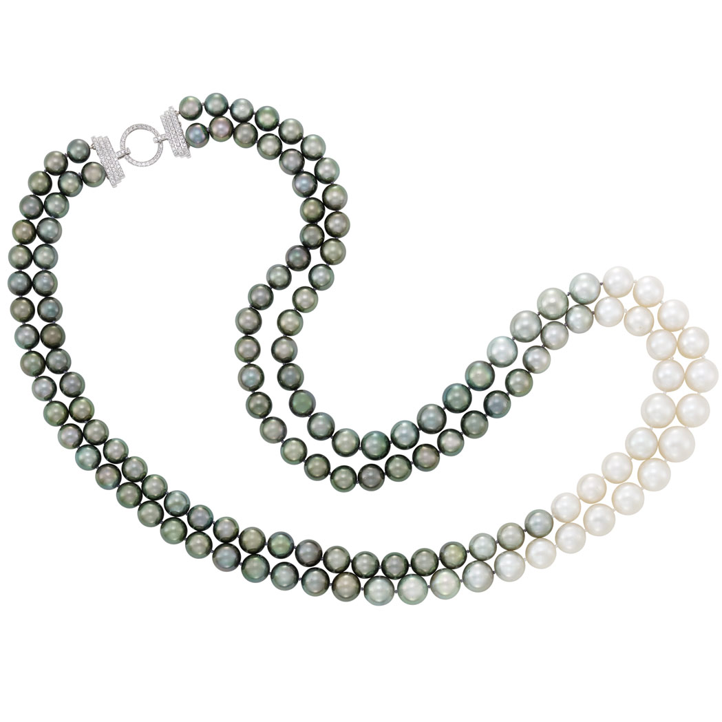 Lot image - Double Strand Black and Gray Tahitian Cultured Pearl and South Sea Cultured Pearl Necklace with Diamond Clasp