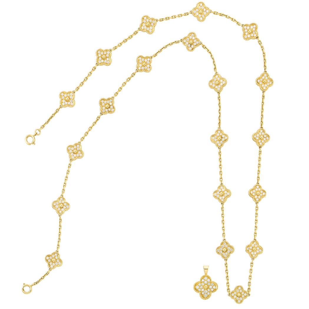 Lot image - Gold and Diamond Chain Necklace and Pendant