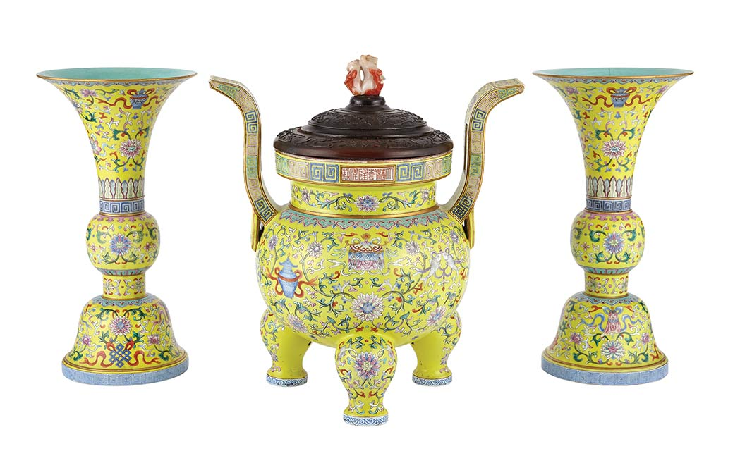 Lot image - Chinese Yellow Ground Famille Rose Porcelain Three-Piece Garniture